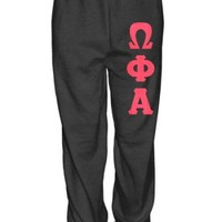 Omega Phi Alpha Elastic Bottom Sweatpants with Sewn-On Letters | Great Pricing | Customize Now