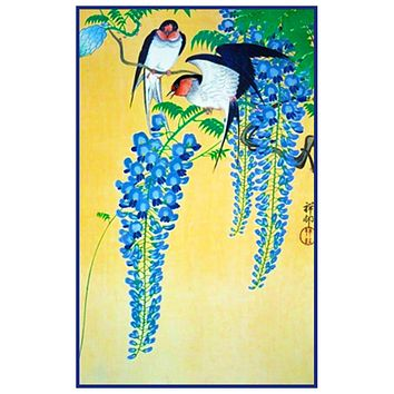 Japanese Artist Ohara Shoson's Swallow Birds on Wisteria Counted Cross Stitch Pattern