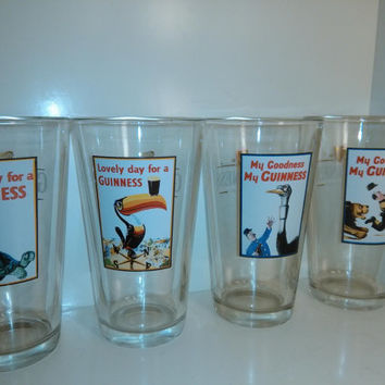 Set Of 4 Vintage Guinness 16 oz Pint Pub Glasses Irish Brewery Glasses Saint Patrick's Day