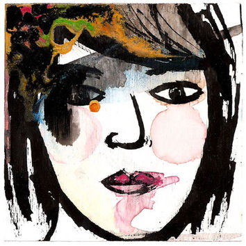 27 - Original Contemporary Acrylic And Watercolor Painting Of A Woman from the Compact Mirror series