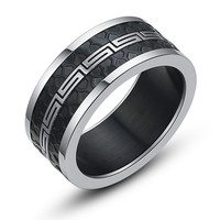 Stainless Steel Greek Key and Black Rubber Texture Ring