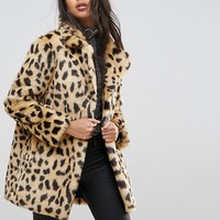 ASOS Faux Fur Coat in Leopard Print at asos.com