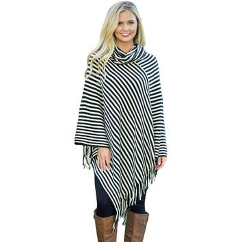 Black White Stripes Cowl Neck Poncho Sweater
