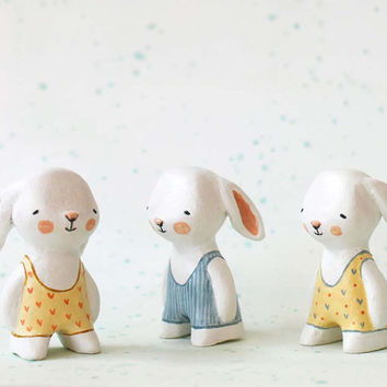 Miniature bunny - Swimmer rabbit  - paper clay animal art toy