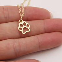 Hollow Paw Print Necklace