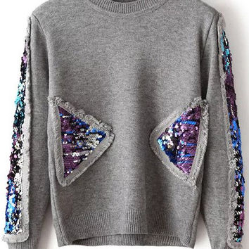 Grey Sequin Detail Long Sleeve Sweater