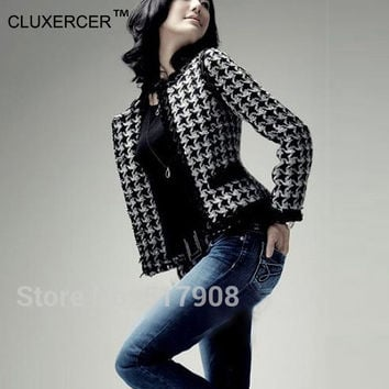CLUXERCER Brand black and white plaid blazer women plaid suit jackets tweed jackets outwear women tweed blazers fenimino