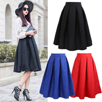 Casual Pleated Knee-length Ball Gown Skater Skirt