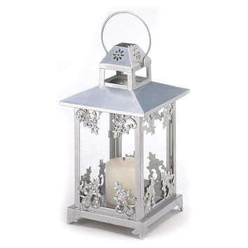 Iron Silver Scrollwork Candle Holder Lantern