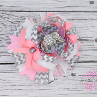 Hair Bow - Pink, White, and Grey Damask Boutique with Rhineston Elephant Center