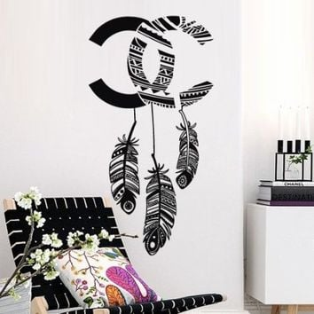 Wall Decal Vinyl Sticker Decals Art Design Coco Chanel Logo Paintings Statement Plumage Feather Birds Nib Living Room Bedroom Mural Fashion (M1418)