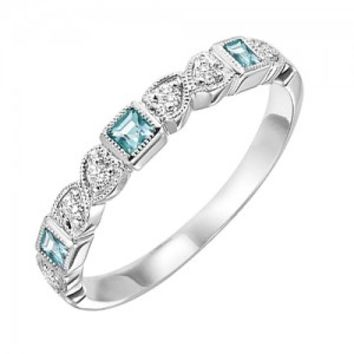 10k white gold diamond and square aquamarine birthstone ring