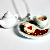 Tea Cup Necklace with Miniature Teapot and by AllartsKitchen