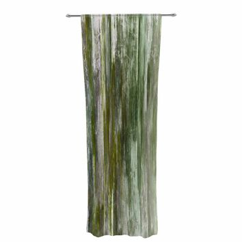 """Ebi Emporium """"Waterfall Blur, Green"""" Green Olive Abstract Stripes Painting Mixed Media Decorative Sheer Curtain"""