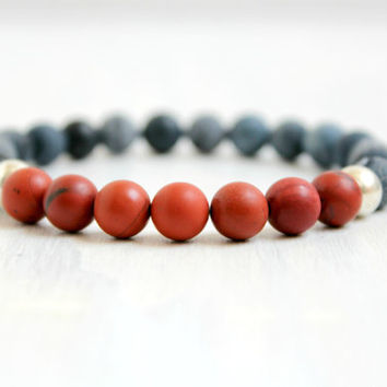 Men Stretch Gemstone Bead Mala Bracelet Red Jasper Black Agate Bohemian Yoga Jewelry