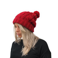 Womens Pom Pom Hat , Red Pom Pom Hat,  Cable Knit Beanie, Winter fashion,Accessory, Rolled brim hat
