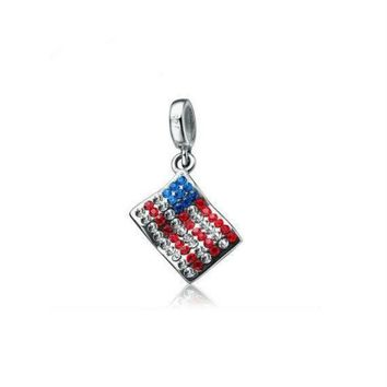 authentic silver charm beads USA flag charm fits european and pandora bracelet jewelle