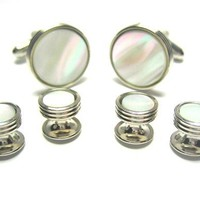 Mother of Pearl Silver Plated Tux Tuxedo Cufflink & Stud Set
