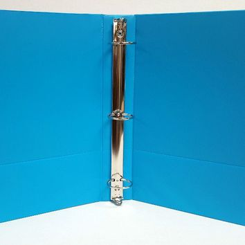 "1"" Basic 3-Ring Binder w- Two Inside Pockets - Cyan - CASE OF 12"