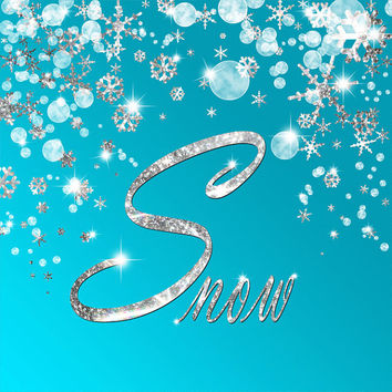 Silver Snowflakes Background, Blue Sparkle Snow Typography, Digital Christmas Scrap Book, Printable Xmas Card