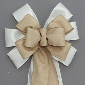 White Satin Rustic Linen Wire Edge Wedding Pew Bow