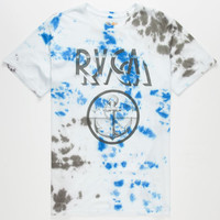 Rvca Tie Dye Anchor Mens T-Shirt White  In Sizes