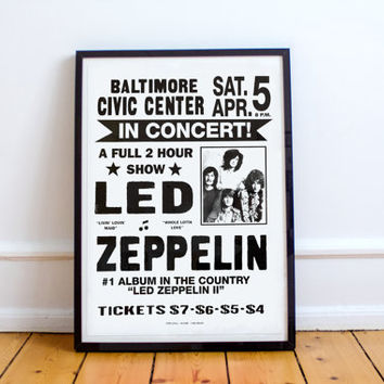 Led Zeppelin Vintage Baltimore Concert Poster High Quality Print