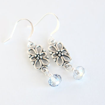 Flower drop earrings, floral drop crystal earrings, silver earrings, bridal jewelry, bridesmaid gift, silver drop earrings, flower earrings