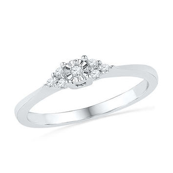 1/10 CT. T.W. Diamond Tri-Side Promise Ring in 10K White Gold - Save on Select Styles - Zales