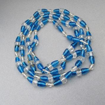"1920's Vintage Blue Glass & Crystal Art Deco Bead 56"" Long Flapper Necklace"