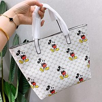 GUCCI & Disney New fashion more letter mouse print shoulder bag handbag White