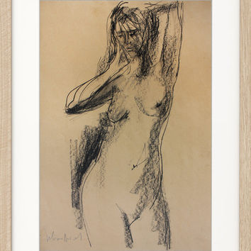 Original charcoal sketch Modern drawing Graphic art Contemporary artwork Nude woman Fine art Home decor Female model Figure