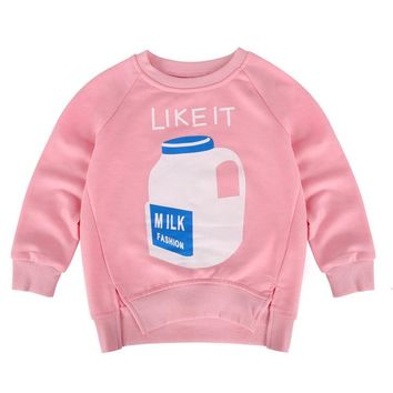 Trendy Toddler Bottle Print Sweatshirt Kid Girl Pullover Coat Baby Warm Tops 2-7 Y New