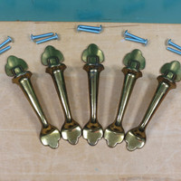 Solid Brass 1950s Drawer Pulls • Keeler Brass Company • KBC N16122 • Set of 5 • Mid Century Cabinet Knobs • Furniture Pulls