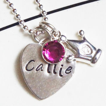 Custom Princess Name Necklace - Hand Stamped Tiffany-Style Personalized Heart Swaovski Birthstone Crown Charm Gift for Her Mommys Necklace