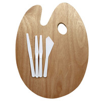 Artist's Loft™ Oval Wooden Palette With Knives