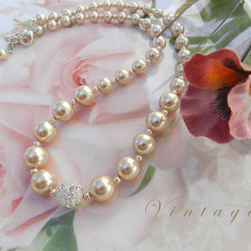 Vintage Champagne Ivory Faux Pearl and Rhinestone Necklace/Choker, Classic Bridal Jewelry