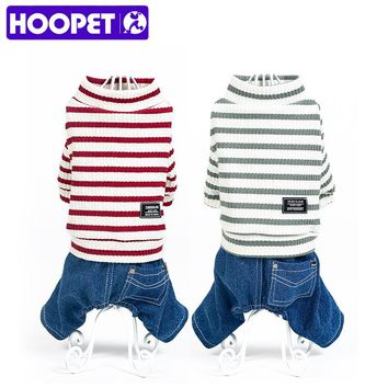 HOOPET Pet Dog Clothing Stripe Jumpsuit Puppy Dress Apparel Costume Cowboy