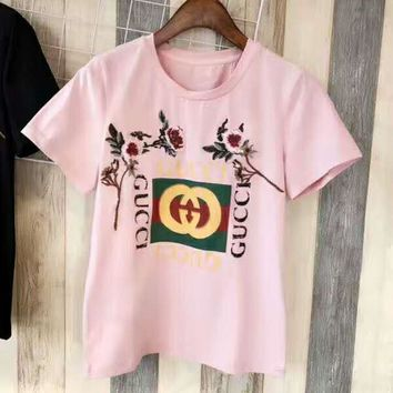 GUCCI Fashion women flower embroidery blouse T-shirt top