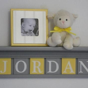 "Nursery Name Shelves Personalized Baby Boy Gift 24"" Gray Shelf and 6 Wooden Wall Lette"