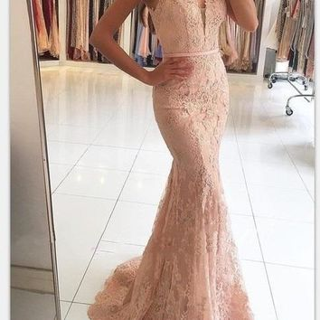 Mermaid Evening Dresses V-Neck Appliqued With Lace Beaded See Through Vestido Longo Prom Dresses Evening Gown
