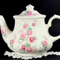 Sadler Basket Weave Teapot, Vintage Porcelain Tea Pot, Made in England 12577