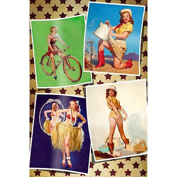 4 CLASSIC 50'S PIN-UP GIRLS POSTER sexy western appeal bicycle 24X36