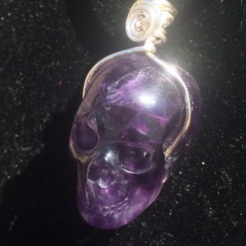 Astonishing Amethyst Carved Crystal Skull Pendant w/Silver wire wrap