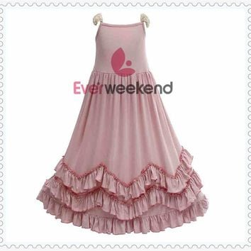 Princes Kids Girls Ruffles Pink Maxi Cotton Dress Lace Sleeve Candy Fashion Kids Holiday Dance Party Dress  for 1-9 Years Old