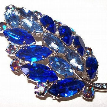 "Sapphire Blue Leaf Brooch Pin AB Rhinestones Silver Metal September BS 2 1/4"" Vintage"