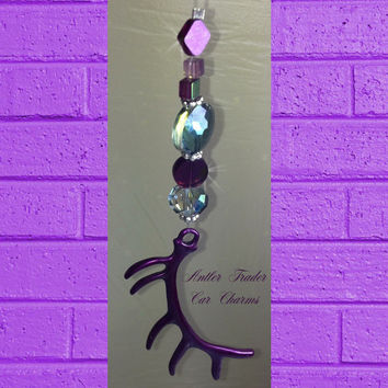 Bling Hunting Elk Antler Purple Swarovski Sun Catcher Rear View Mirror Jewelry Girls Hunt