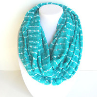 Teal Scarf Infinity Scarf Turquoise Scarf Aqua Scarf Wide Scarf Knit