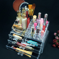 Cosmetic organizer makeup drawers Acrylic Display Box Clear Cabinet Case Set