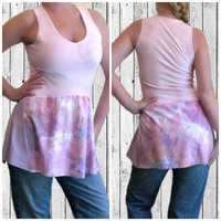 Tie Dye Top, Handmade Top, Asymetric Top, Pink Tank Top, Upcycled Clothing, OOAK Top, Beachwear, Festival Wear, Hoop Dance, Altered Couture